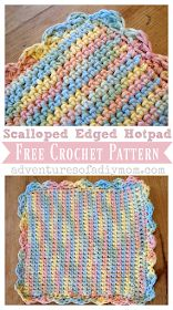 Make a crocheted hotpad with a scalloped edge with this free pattern. Includes step-by-step pictures. Stitches to know: chain, single crochet, double crochet, triple crochet, and slip stitch Scrap Yarn Crochet, One Skein Crochet, Crochet Hot Pads, Quick Crochet, Manta Crochet, Unique Crochet, Double Crochet, Single Crochet, Crochet Birds