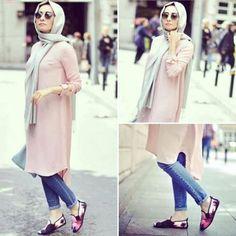 pastel long tunic casual hijab- Hijab fashion magazine…