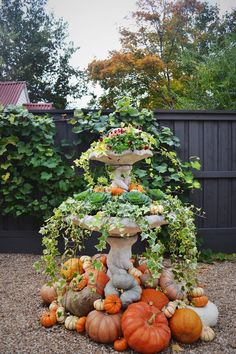 fall decor ideas Fall To Winter Garden and Landscape Ideas Fall birdbath ideas Gorgeous outdoor fall display with ivy and heirloom pumpkins spilling out of a birdbath. Fall Planters, Outdoor Planters, Outdoor Decor, Autumn Garden, Easy Garden, Garden Ideas, Garden Center Displays, Garden Centre, Fall Containers