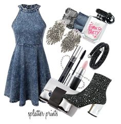 """Splatter Prints: Denim Dress"" by verygudova ❤ liked on Polyvore featuring Swarovski, NARS Cosmetics, Victoria's Secret, MAC Cosmetics, Maison Margiela, Christian Dior and Mignonne Gavigan"