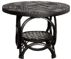 rycyled tyre mosaic table