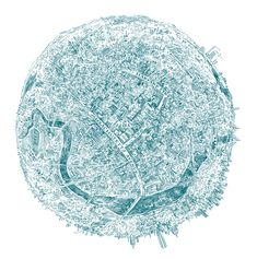 Pier Gustafson: hand-drawn maps - this spherical view centered on someone's home in Cambridge, Mass.