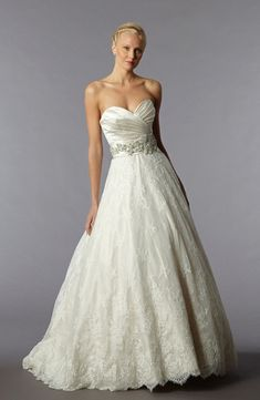 Danielle Caprese: Sweetheart A-Line Wedding Dress  with Natural Waist in Lace. Bridal Gown Style Number:32575714