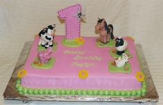 Farm Animals 1st Birthday - This was a fun cake to make. Made for friends of our little girl's 1st B-day. Got the call for the cake on Monday for Saturday pickup. They didn't know what they wanted only that she liked animals cows and horses. I thought I'd use this opportunity to practice making 3-D figures. The little pig is out of MMF and the rest of the animals are out of gum paste. After I made the pig I knew the others would not get dry in time just using MMF.