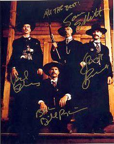 TOMBSTONE (1993) 8x10 movie photo signed KURT RUSSELL, SAM ELLIOT, BILL PAXTON, VAL KILMER.