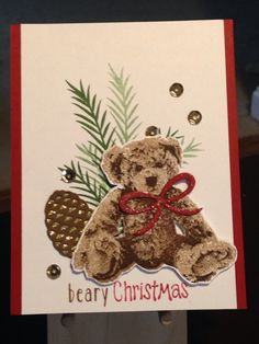 Christmas Card - Stamps:  Stampabilities Very Merry Christmas, Stampin' Up Baby Bear, Stampin' Up Christmas Pines - Stampin' Up Pretty Pines Dies - Inks:  Stampin' Up Garden Green, Ranger Archival Coffee - Distress Marker Festive Berries - Spectrum Noir Sparkle Clear Overlay - Simon Says Stamp Schoolhouse Red Cardstock - American Crafts Gold Glitter Cardstock