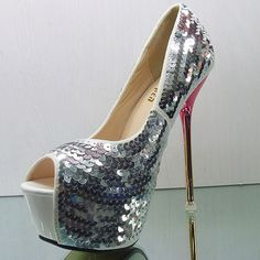Fashionable Women Shoes, Bags, Clothes, Everything Beautiful., All Women Cared Are Beautiful! Glitter High Heels, Stiletto Heels, Shoes Heels, Party Queen, Sexy Heels, Beautiful Shoes, Girls Shoes, Boat Shoes, Open Toe