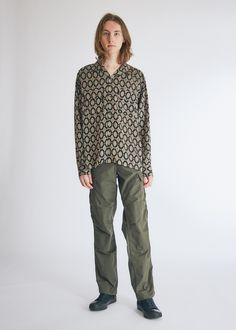 Long sleeve button-down shirt from Needles. Light, crisp fabric with allover jacquard. Straight back yoke. Flap pockets at chest. Made in Japan Need Supply Co, Shirt Price, Cut Off, Button Down Shirt, Long Sleeve, Model, Fashion, Moda, Dress Shirt
