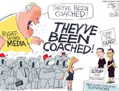 Political cartoon U.S. Parkland shooting students right-wing media bias (note; This Is B.S., No Matter What The Situation, The CCMMM Will Be Biased In Favor Of The Ruling Elite That Owns Them!)