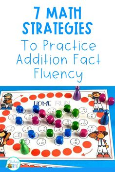 Addition games provide hands-on practice for learning addition strategies. Introduce the strategy with an anchor chart then engage your first grade students with fun math games that help improve their fact fluency. Perfect for homeschoolers too! #additionstrategies #additiongames