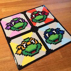Teenage Mutant Ninja Turtles coasters made with perler beads