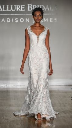 allure bridal maddison james f2017 cap sleeves v neck full embellishment elegant sheath wedding dress low back sweep train (019) mv