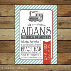 Vintage train birthday party invitation custom by saralukecreative, $17.00