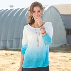 """HEAVENLY DIP-DYE SWEATER--The drape of this finely-woven, dip-dyed sweater loves curves and skims over flaws. Each one is unique with rich, exuberant colors. Linen. Hand wash. Imported. Exclusive. Sizes XS (2), S (4 to 6), M (8 to 10), L (12 to 14), XL (16). Approx. 26""""L."""