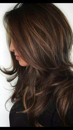For a nice change of pace, go dark this Fall. We Chocolate and Dark Brown Balayage Hair love these warmer colors