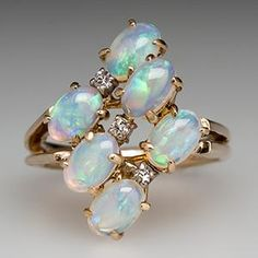 VINTAGE NATURAL OPAL CLUSTER COCKTAIL RING WITH DIAMOND ACCENTS 14K GOLD