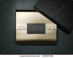 Black box with gold wrapping paper and business card isolated on dark background. 3d rendering