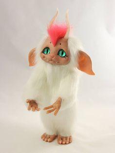 Little White Troll  Poseable OOAK Art Doll