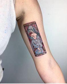 The Times Of The Day, Alfons Mucha tattoo by evakrbdk Kunst Tattoos, Body Art Tattoos, Small Tattoos, Tatoos, Lover Tattoos, Bicep Tattoos, Inner Arm Tattoos, Piercing Tattoo, Piercings
