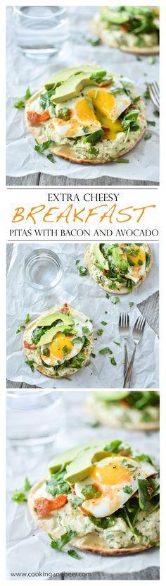Extra Cheesy Breakfast Pitas with Bacon and Avocado | www.cookingandbeer.com | @jalanesulia