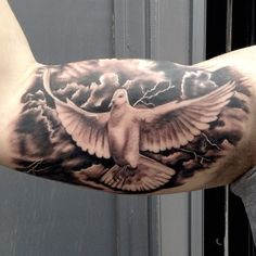 Flying Dove Tattoo Designs for Men at Camera | 60 Lightning Tattoo Designs For Men – A Surge Of High Voltage Ideas