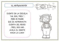 """La primera de las poesías se llama """"El astronauta"""" y nos viene genial para contar hacia atrás.    Poesía """"El astronauta""""  La segunda poesía..."""