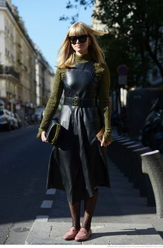 Sweater with leather dress