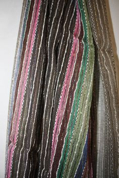 Handmade Nepali Cotton Scarf- Grey and Silver Multicolor with Silver Thread