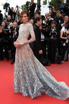 Elie Saab white, pink and blue ombre gown with long sleeves and white sequined pattern
