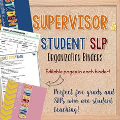 Student and Supervisor SLP Organization Binders — The Speech Bubble. Pinned by SOS Inc. Resources. Follow all our boards at pinterest.com/sostherapy/ for therapy resources.