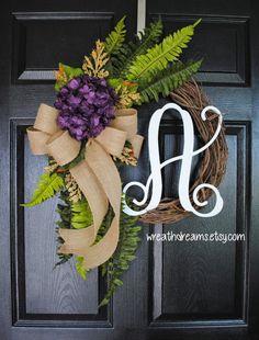 Purple Hydrangea & Fern Monogram Grapevine Wreath by WreathDreams