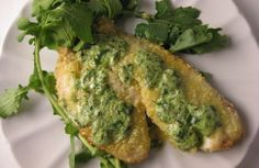 Creamy Arugula Tilapia - maybe experiment with avocado instead of goat´s cheese  #pescetarian #mains