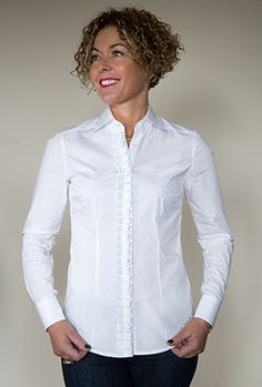 HADLEY - NEW - classically styled Perfect White Shirt with concertina pleating running from the neat collar to hemline.