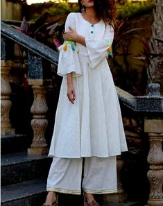 Cotton-Khadi kurti with sleeves detailing and neck patti.