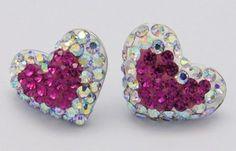 Swarovski Crystal Ear Studs, with Sterling Sliver, Heart
