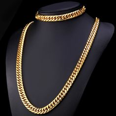 African Ethiopian Gold Plated Chunky Hiphop Heavy Cuban Chain Necklace Bracelet Men – U7 Jewelry
