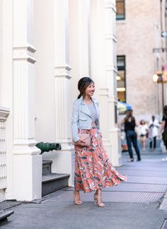 gray + coral orange outfit for spring or fall