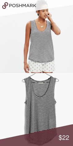 Madewell Striped Anthem Scoop Tank Super soft viscose anthem scoop tank from Madewell in black and white stripe. Size XXS.  NWOT Madewell Tops Tank Tops