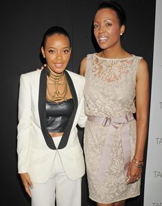 Angela Simmons and Aisha Tyler attend the Tad Shoji shi show at the 2012 Mercedes-Benz NY Fashion Week.