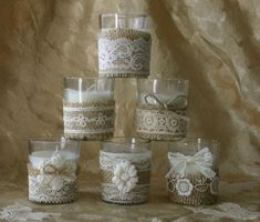 Burlap and lace wedding votives, Wedding tea candles, Ivory lace wedding votives. $25.00, via Etsy.