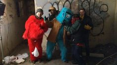 """Actors Marc Raco and Daniel Wolfe Piotrowski, along with director/creator John Threat and crew, take a moment between takes on location while shooting """"Monsters"""""""