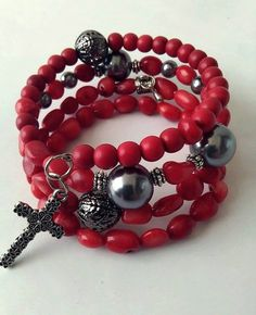Beaded Memory Wire Bracelet Unique Handmade Red by BeadedIdyll