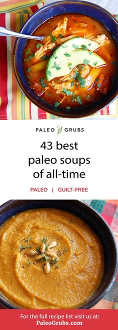 This is a great list of the best paleo soup recipes. From classic, comforting soups like tomato basil to easy recipes like slow cooker chicken tortilla soup. Recipes slow cooker 43 Healthy and Hearty Paleo Soups for an Easy Meal Paleo Crockpot Recipes, Paleo Chicken Recipes, Healthy Soup Recipes, Easy Recipes, Crockpot Ideas, Healthy Chicken, Keto Recipes, Galletas Paleo, Paleo Food List