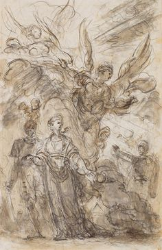 Jean-Honoré Fragonard born Grasse, France, died Paris, France, 1806 Charlemagne Leads Angelica away from Roland illustration for Orlando Furioso Canto I by Ariosto around 1785 black chalk and brown wash and traces of graphite on laid paper AGO Art Gallery Of Ontario, Jean Honore Fragonard, Rococo, Artist Sketchbook, T Art, Old Master, Gravure, A4 Poster, Art Reproductions