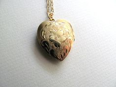 Beautiful gold vintage heart locket on by MySoCalledVintage, $68.00