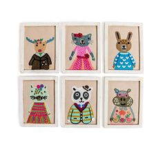 17ef4d9d1b9f Embroidered Animal Fabric Wall Art with Frame (6 animal options) – Sugarboo   amp . Sugarboo   Co