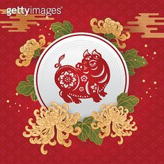 2019 Year of the Pig Pig Wallpaper, Pattern Wallpaper, Paper Art, Paper Crafts, Cut Paper, Happy New Year Background, New Year Illustration, Graphic Art, Graphic Design