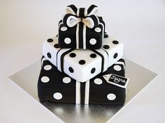 Glamorous Birthday Cakes | Beautiful Birthday Cakes » Black and White Present Stack Cake