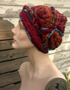Sometimes I Don't Get You- freeform crochet hat OOAK  - Girl with a Hook