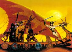 """Reckoneers"" by Brom for TSR's Dark Sun setting -- This was cropped into two halves and used as separate covers for two books in the boxed AD&D adventure Merchant House of Amketch and in the. Dark Fantasy Art, Fantasy Rpg, Fantasy World, Space Fantasy, Dark Sun, Science Fiction, Advanced Dungeons And Dragons, American Gothic, Sun Art"